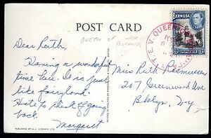 BERMUDA 1938 POSTED ON THE HIGH SEAS T.E.V. QUEEN OF BERMUDA RED POST MARK ON PC