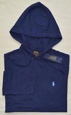 New Large L Polo Ralph Lauren Men hooded T-shirt hoodie Tee Navy Blue cotton top