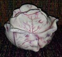 "Vtg.Holland Mold Large Ceramic Covered Red Cabbage Shape Bowl 8"""