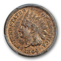 1864 1C Bronze Indian Head Cent PCGS MS 63 RB Uncirculated Red Brown Cert#7390