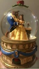 "Vintage Disney Store LARGE Beauty and The Beast  Snow Globe Music Box 6"" globe"