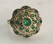 R289 Genuine 9K 9ct Real Gold NATURAL Emerald & Pearl Vintage style Ring size N