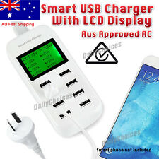 Multi 8 Port Smart USB Wall Charger iPad iPhone Android Tablet 8A LCD Display AU