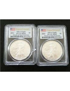 (2) Two 2011 First Strike PCGS MS69  AMERICAN U.S.SILVER ONE DOLLAR EAGLES