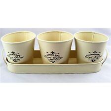 Set of 3 Vintage Round 10cm Metal Planter Pots on Tray