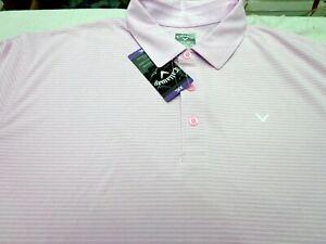 Callaway Golf Polo Shirt Opti Dri  Party Pink Heather   2XL  New