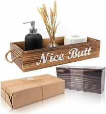 Home Nice Butt Bathroom Decor Box | Rustic Bathroom Storage Box | 2-Sided Funny