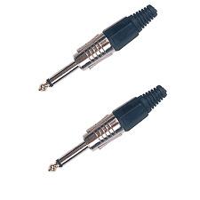 2 Fiches Jack 6.35 Mâle Mono Couleur de Repérage NOIRE  Connections à Souder