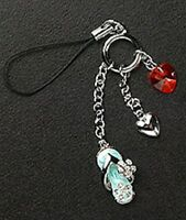 Heart Dangle Red Crystal Enamel Silver Plated Metal Cell Phone Charm Zipper Pull