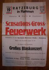 Altes Werbeplakat Ratzeburg in Flammen! Sensations-Groß-Feuerwerk 1949 Musik