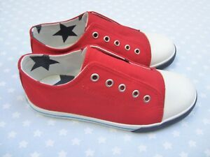 Boys Mini Boden Red Laceless Canvas Pull-ons Shoes. Size 35 (UK 2.5/3) BNIB