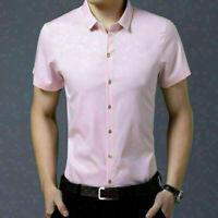 Men's Fit Short Sleeve Shirt Solid Color Casual Button Business Dress Shirt Tops