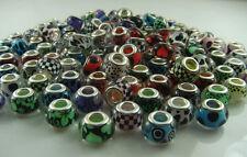 50pcs mix murano DIY Jewelry charm bead LAMPWORK fit European Bracelet gift m2