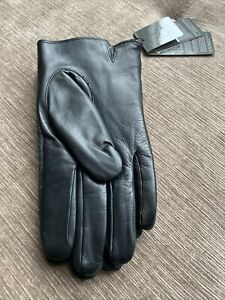 Calvin Klein Black Leather Gloves with Fabric Back New with Tags size 10