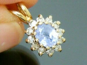 9ct Gold Vintage Ceylon Sapphire & Diamond Hallmarked Pendant