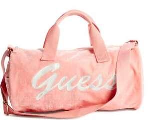 GUESS Women's Logo Pink Velvet Gym Weekend Travel Lightweight Small Duffle Bag