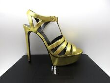 Yves Saint Laurent Bianca 105 Oro Gold T Strap Platform Sandals 39 9
