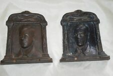 Set Pair Vintage Cast Iron Book Ends Portrait of Man Suit Tie Metalware Estate