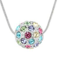Sparkly Multi Coloured Crystal Disco Ball Pendant Silver Chain Necklace Jewelry