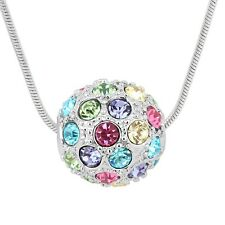 Sparkly Multi Coloured Crystal Stones Ball Pendant Silver Chain Necklace Jewelry