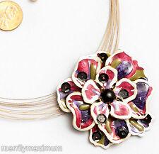 Chico's Signed Necklace Gold Tone Flower Pendant Pink Purple White Enamel Black