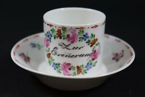 Biedermeier Porzellan Tasse mit Untertasse um 1840 handbemalt (EA524)