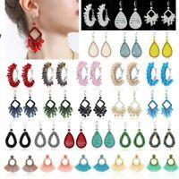 Fashion Crystal Tassel Ear Hook Earrings Drop Dangle Braided Handmade Jewelry