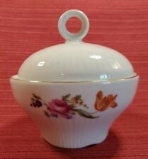 Vintage JLMENAU Sugar Bowl with Lid, White with flowers and Gold painted trim