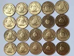 Lot 20 AA Alcoholics Anonymous Medallion Chip Years 1-20 Bronze Chips Medallions