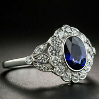 Womens Silver plated Oval Cut Blue Sapphire Flower Ring Wedding Band Jewelry