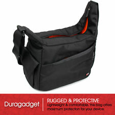 Durable Shoulder 'Sling' Bag in Black & Orange for Panasonic DMC-FZ330 Camera