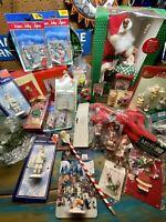 Vintage Christmas Decoration Lot Village Figurines & Musical Santa Ornament