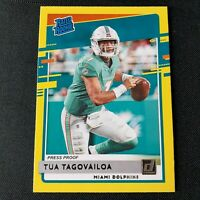 2020 Donruss Tua Tagovailoa SP Press Proof Yellow Rated Rookie RC #302 Dolphins