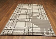 TOP QUALITY NOVELTY 80X150CM APROX 5X3FT WOVEN RUGS/MATS NEW STAG CHECK DK GREYS