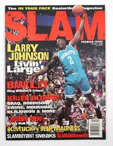1994 Slam NBA Pro Basketball Magazine #1 Premier Issue Larry Johnson Cover
