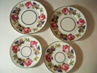 4 PHOENIX CHINA CECHO SLOVAKIA PINK ROSES BLUE FLORAL PLATES