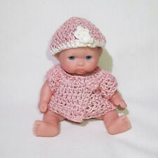 """Tiny Berenguer Baby Girl Doll, 5"""" High, Hand Crochet Pink Top and Hat"""