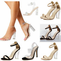 Womens Clear Transparent Shoes High Heels Ankle Strap Summer Sandals Stilettos !