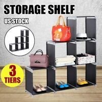 6 Cube 3 Tier Storage Cube Closet Shelf Cabinet Bookcase Storage Organizer Black
