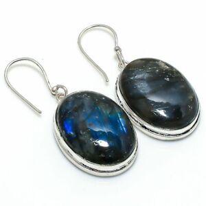 "Labradorite Gemstone Handmade 925 Sterling Silver Jewelry Earring 1.89 "" i171"