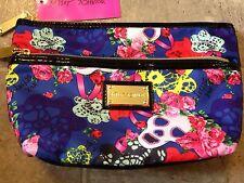 BETSEY JOHNSON DOUBLE ZIP BETSEY'S MASQUERADE SKULL COSMETIC MAKEUP BAG POUCH