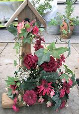 "Lrg 25"" Rustic Driftwood Birdhouse Late Summer Burgundy Reds Floral Arrangement"