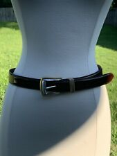 Vintage 1990's Fossil Genuine Leather Western Silver Gold Tone Belt Size Medium
