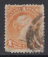 """Canada Scott #23  1 cent yellow orange  """"Large Queen"""""""