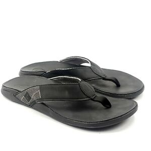 OluKai Tuahine Mens Waterproof Leather Flip Flops Black US 13 EUR 45 10465-4040