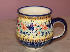 Polish Pottery 10 oz Medium Bubble Mug! UNIKAT Signature Butterfly Summer