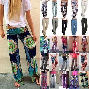 Women's Baggy Harem Pants Boho Hippie Wide Leg Gypsy Loose Trousers Yoga Palazzo