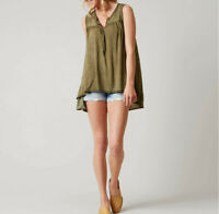 Free People Womens Hudson OB564537 Top Relaxed Moss Green Size XS