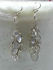 "Gypsy 2""  STERLING SILVER 925 MOONSTONE CHANDELIER WATERFALL DANGLE EARRINGS"