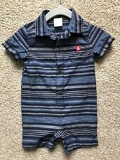 Gymboree EUC Infant Baby Boy Blue Grey Collared Striped Romper Outfit 3-6m